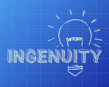 Hand drawn ingenuity sign and light bulb on blueprint background