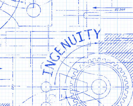 Ingenuity text with gear wheels hand drawn on graph paper technical drawing background