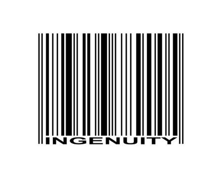 Ingenuity word and barcode icon  Çizim