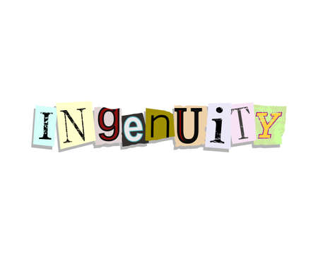 Ingenuity word in torn paper letters text