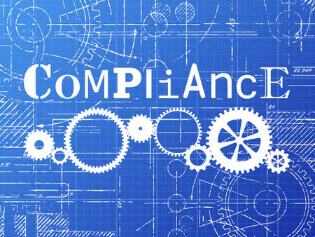 Compliance sign and gear wheels technical drawing on blueprint background