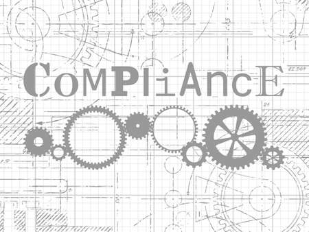 Compliance sign and gear wheels technical drawing on graph paper background