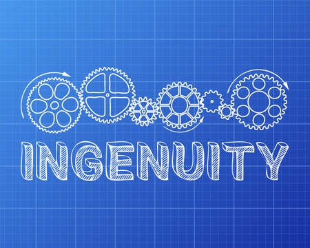 Ingenuity text with gear wheels hand drawn on blueprint background  Illustration