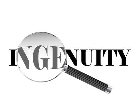Ingenuity text viewed under magnifying glass illustration  Çizim