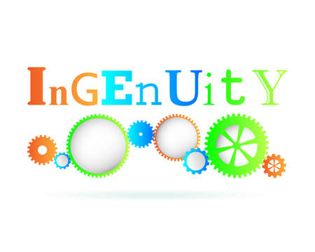 Ingenuity word above modern gear wheels  Illustration