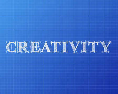 Creativity text hand drawn on blueprint background