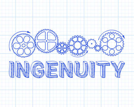 Ingenuity text with gear wheels hand drawn on graph paper background