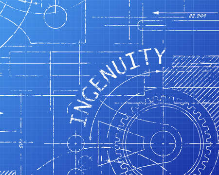 Ingenuity text with gear wheels hand drawn on blueprint technical drawing background