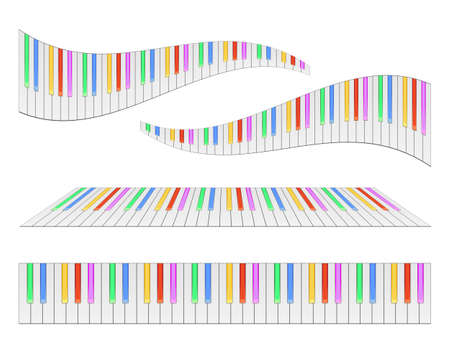 Piano keyboards with colored keys illustrations. Various angles and views