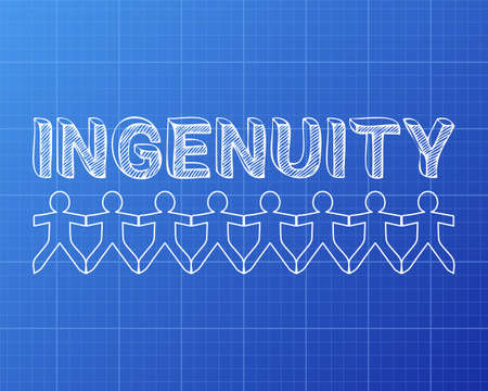 Ingenuity text hand drawn with paper people on blueprint background  Çizim