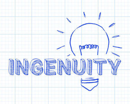 Hand drawn ingenuity sign and light bulb on graph paper background