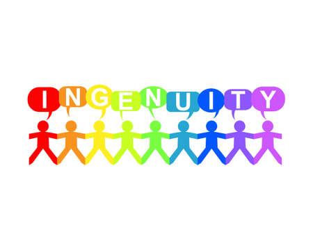 Ingenuity word in speech bubbles with cut out paper people chain in rainbow colors
