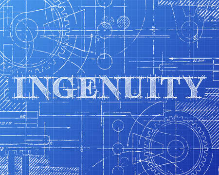 Ingenuity sign and gear wheels technical drawing on blueprint background