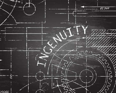 Ingenuity text with gear wheels hand drawn on blackboard technical drawing background