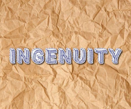 Ingenuity paper letters text on crumpled brown paper background  Stock Photo