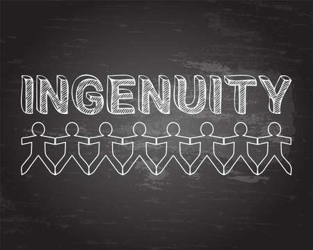 Ingenuity text hand drawn with paper people on blackboard background