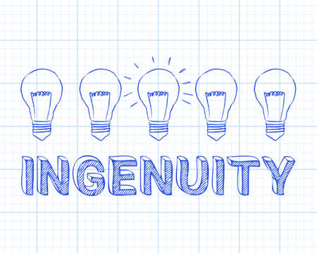 Hand drawn ingenuity sign and light bulb on graph paper background Stock Vector - 93432350