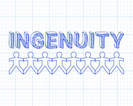 Ingenuity text hand drawn with paper people on graph paper background