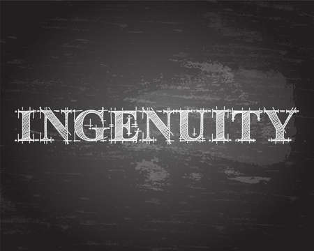 Ingenuity text hand drawn on blackboard background
