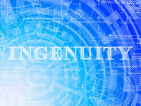 Ingenuity word on high tech blueprint and data background Stock Vector - 93866137