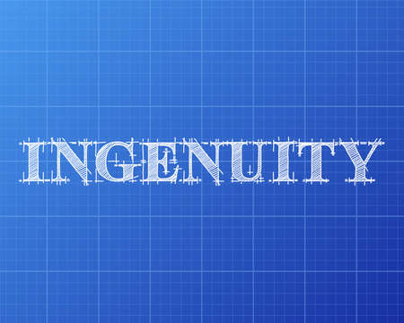 Ingenuity text hand drawn on blueprint background illustration.