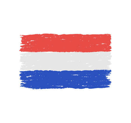 Grungy hand drawn flag of The Netherlands illustration.