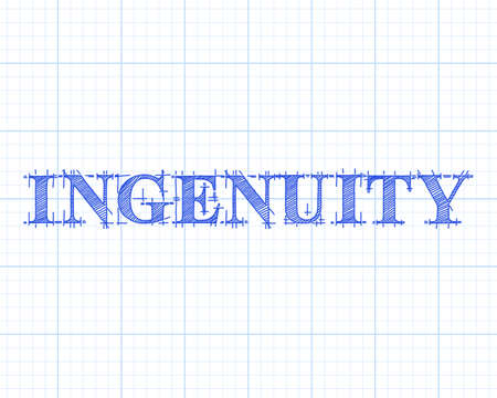 Ingenuity text hand drawn on graph paper background illustration.