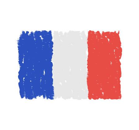 Grungy hand drawn flag of France illustration. Illustration