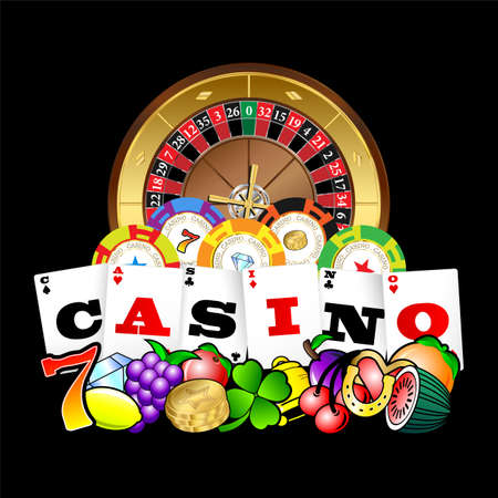 Casino symbol on playing cards with roulette wheel and symbols