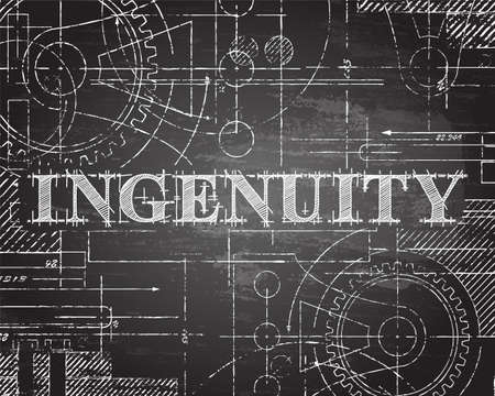 Ingenuity sign and gear wheels technical drawing on blackboard background