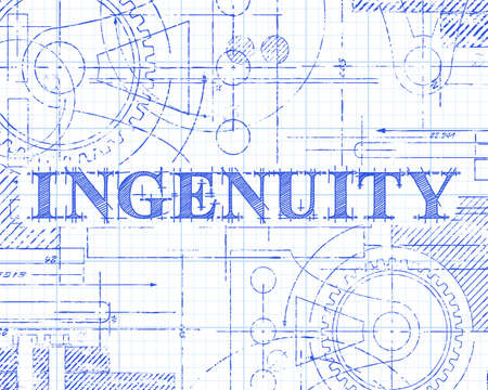 Ingenuity sign and gear wheels technical drawing on graph paper background  Illustration