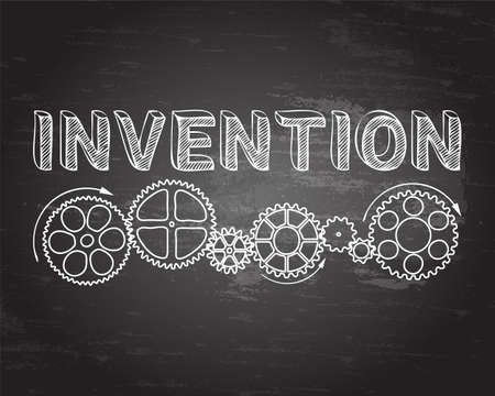 Invention text with gear wheels hand drawn on blackboard background