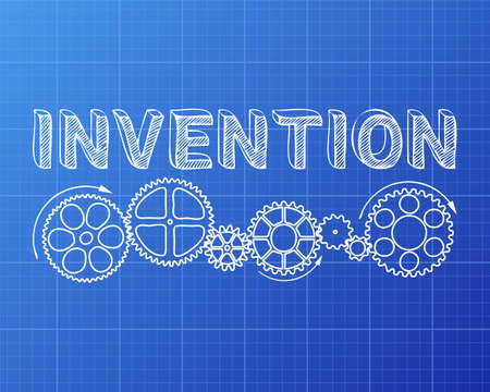 Invention text with gear wheels hand drawn on blueprint background