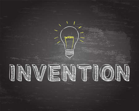 Hand drawn invention sign and light bulb on blackboard Illustration