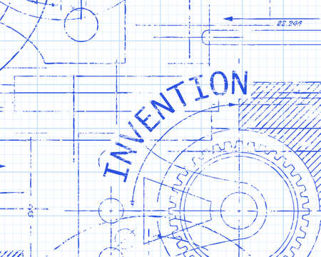 Invention text with gear wheels hand drawn on graph paper technical drawing background Illustration
