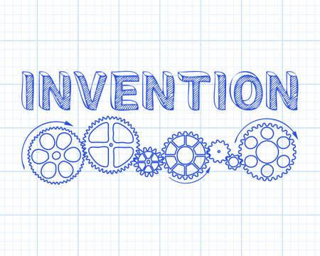 Invention text with gear wheels hand drawn on graph paper background Vector illustration.