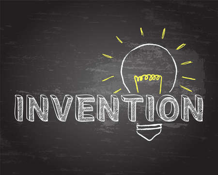 Hand drawn invention sign and light bulb on blackboard Vector illustration. Çizim