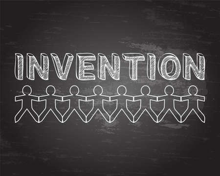 Invention text hand drawn with paper people on blackboard background