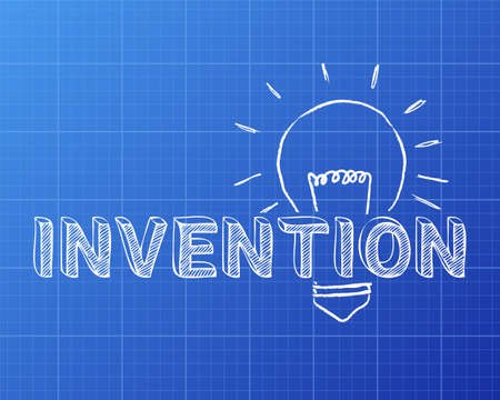 Hand drawn invention sign and light bulb on blueprint background  Illustration