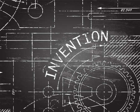 Invention text with gear wheels hand drawn on blackboard technical drawing background Vector illustration.