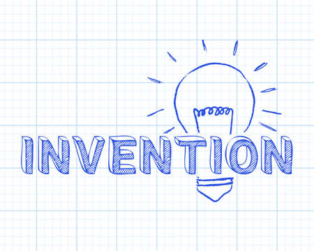 Hand drawn invention sign and light bulb on graph paper background Stock Vector - 99634590