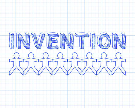 Invention text hand drawn with paper people on graph paper background  Illustration