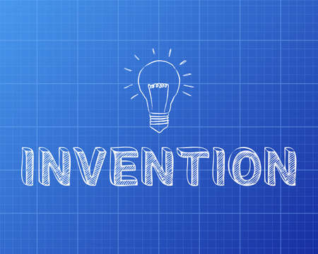 Hand drawn invention sign and light bulb on blueprint background  Çizim