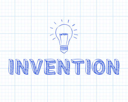 Hand drawn invention sign and light bulb on graph paper background
