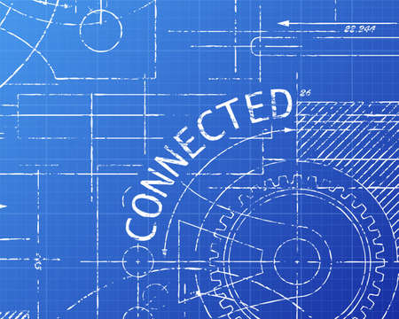 Connected text with gear wheels hand drawn on blueprint technical drawing background
