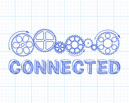 Connected text with gear wheels hand drawn on graph paper background