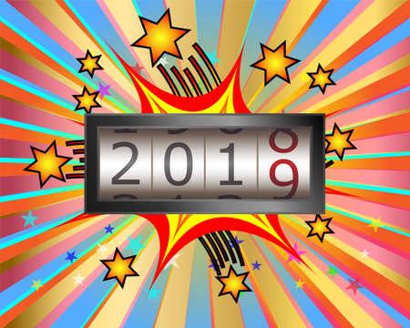 New year mechanical counter showing 2018 switching to 2019 on exploding celebration background Illusztráció