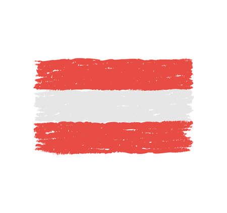 Grungy hand drawn flag of Austria Çizim