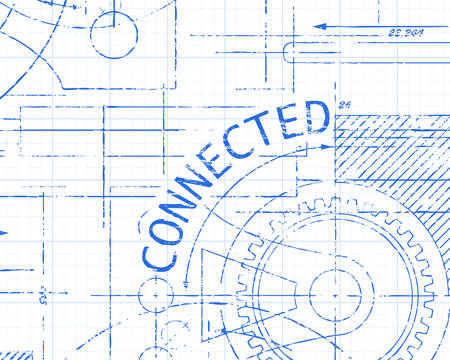 Connected text with gear wheels hand drawn on graph paper technical drawing background