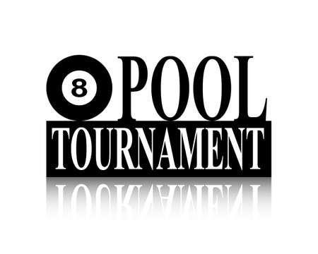 Pool ball black and white silhouette tournament sign Illustration